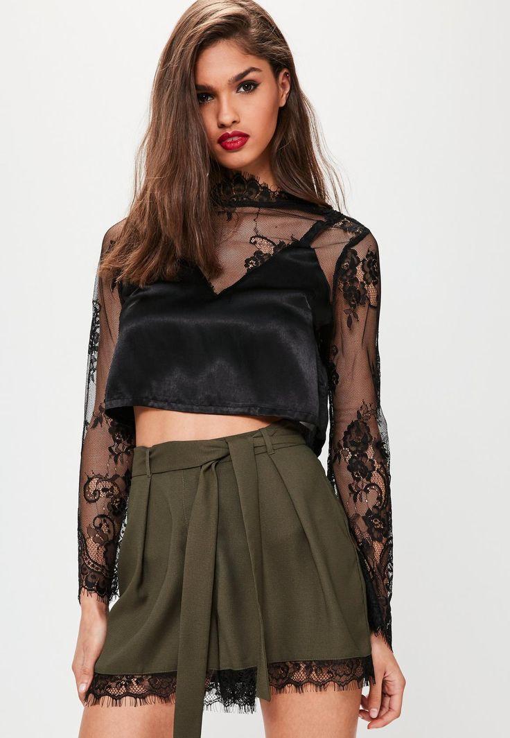 Missguided - Khaki Satin Back Crepe Lace Hem Shorts