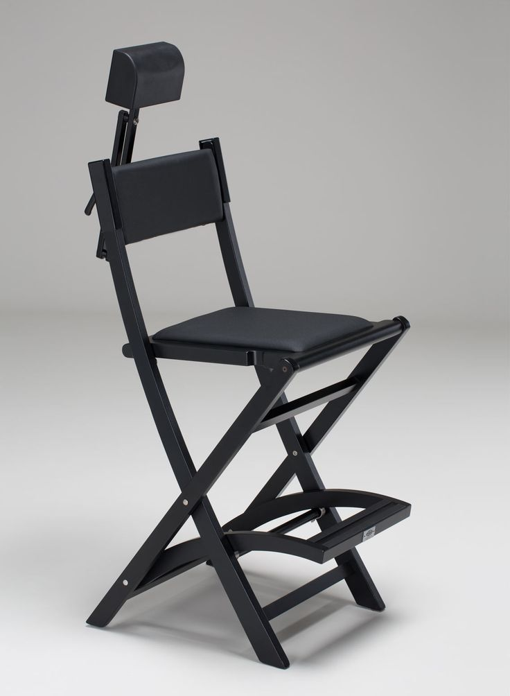 SET BLACK WOODEN MAKE UP CHAIR S104 + HEADREST. Makeup diretor chairs. Cantoni for makeup and aesthetic professionals. Composed by no overturning Make up chair S104, HeadRest System for S104 chair, exclusive design, easily foldable, transportable with the dedicated rolling trolley cover. This chair can be customized with a text, or your logo or both. #makeupchairs #wood #headrest