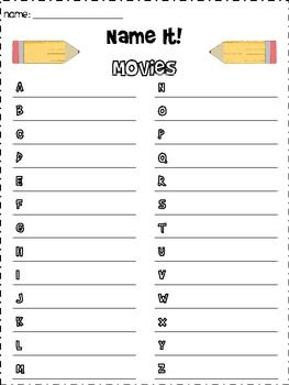 great game for your word work or writing center students name an item for each
