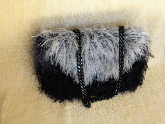 Black and grey clutch Faux fur purse Evening purse Black