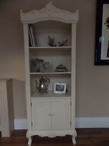 French Shabby Chic Cream Ornate Bookcase with Drawer | eBay