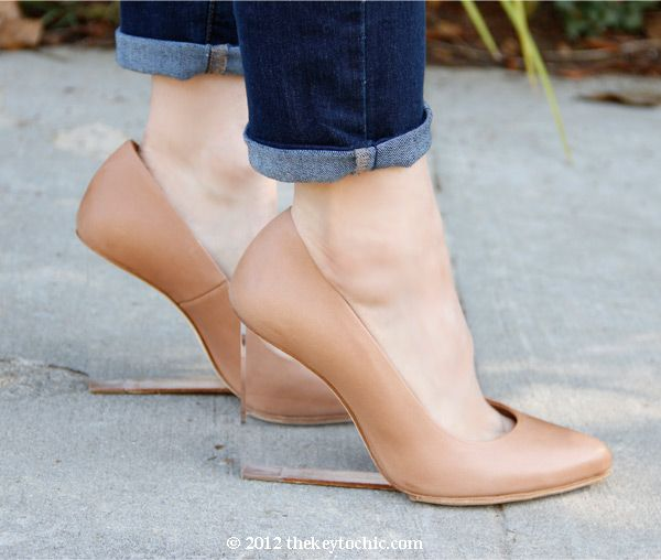 Maison Martin Margiela H tan invisible wedge pumps, nude wedges with lucite heels, PeopleStyleWatch Translucent accessories feature in June 2013 issue, Old Navy super skinny jeans, Los Angeles fashion blog