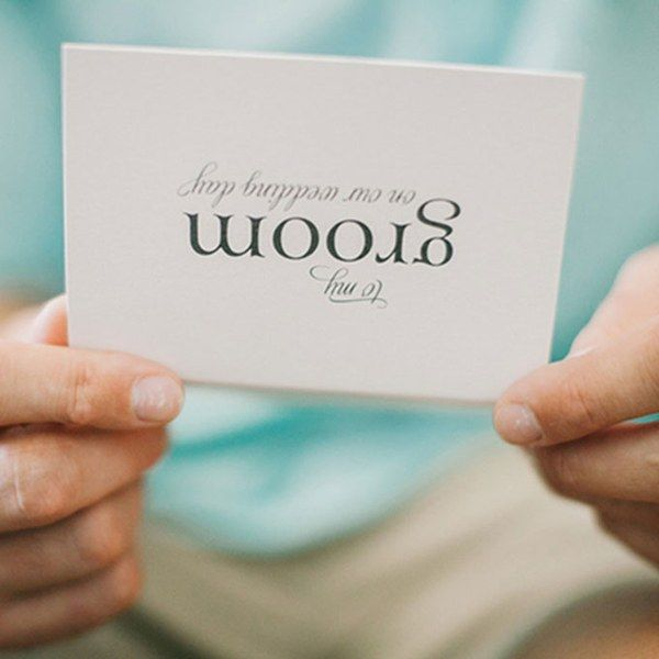 Save some time to pen a sweet note to your groom where you can tell him how excited you are to finally become his wife. You'd be surprised by what a big difference this gesture can make in calming your guy's nerves.