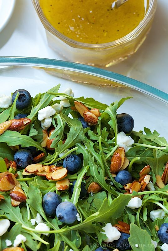 Blueberry Arugula Salad with Honey Lemon Dressing - everyone goes crazy over this simple, fresh salad.