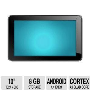"""Proscan 10"""" Android 4.4 KitKat Tablet - ARM Cortex A9 Quad Core 1.5 GHz, 512MB Memory, 8GB NAND Flash Storage, 1024 x 60"""