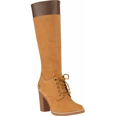 Timberland Womens Wheat Glancy Tall Lace with Zip Boots-UK 3.5