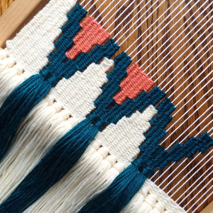 Finished with my half-moon-shaped weaving, but since it only took up half the loom, working on this design on the other end so there is no wasted warp (that could be a new hashtag )