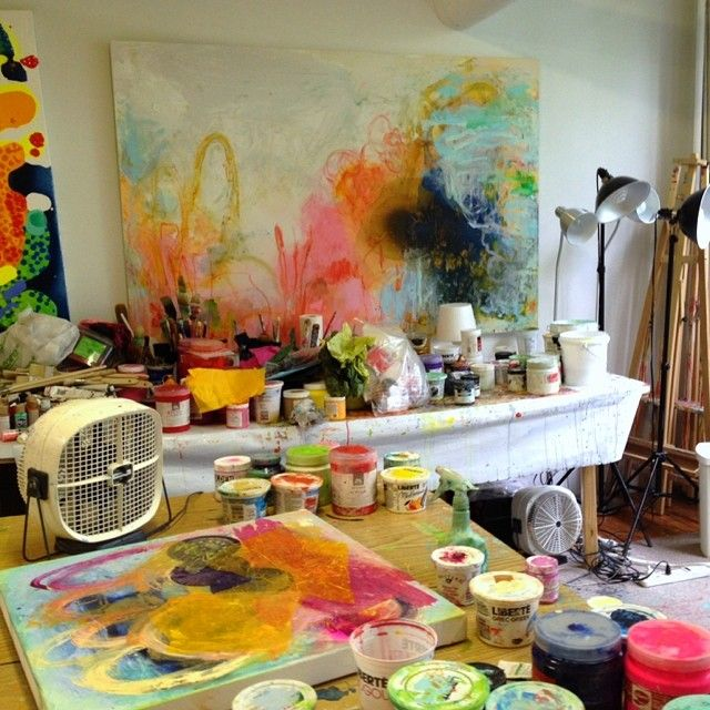 This is how I left my #studio for the weekend: a glut of #colour and #paint, all in the name of #abstract #art!