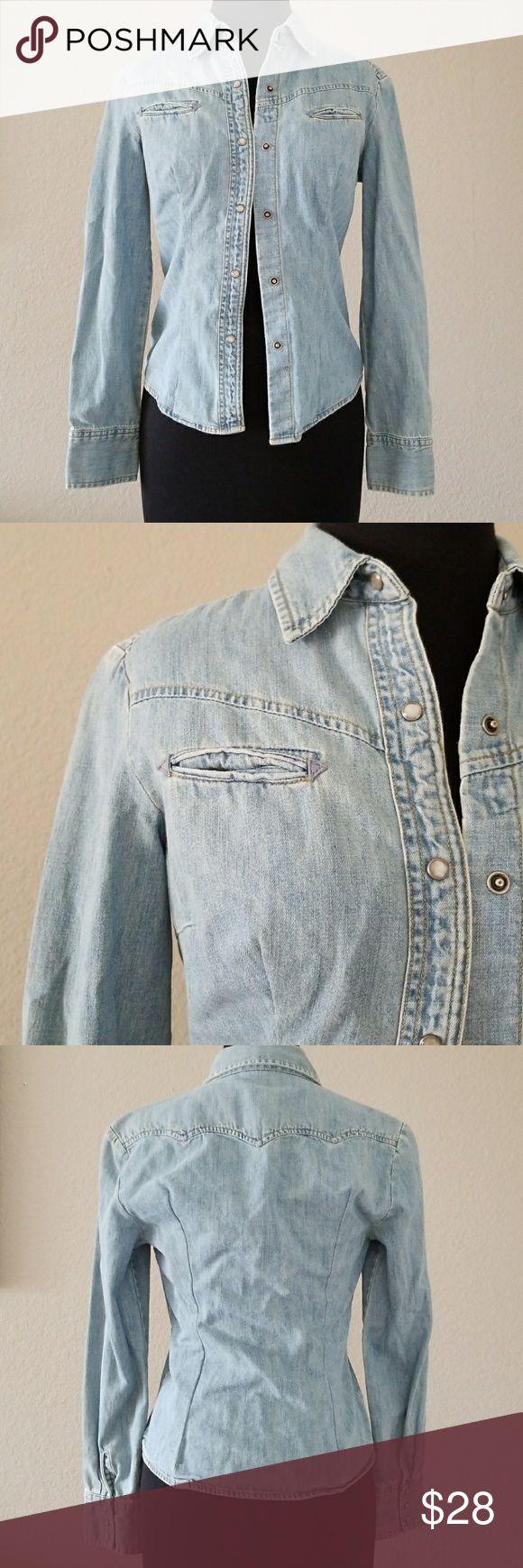 "J Crew Denim Long sleeve 100% Cotton Denim Long sleeve shirt with snap buttons.   Bust 16"" Length 22.5"" J. Crew Tops Button Down Shirts"