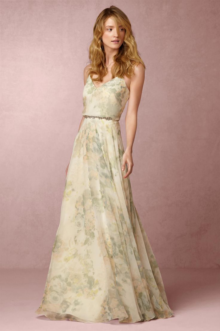 Floral print wedding dresses   best images about Bridesmaids on Pinterest  Gardens Romantic and
