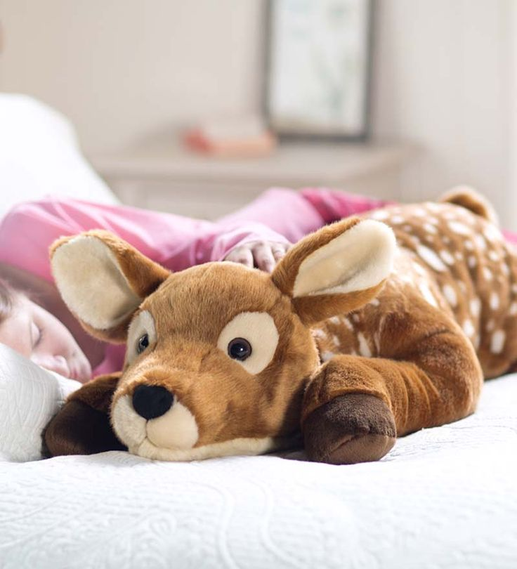 Fuzzy Spotted Fawn Body Pillow from plowandhearth.com