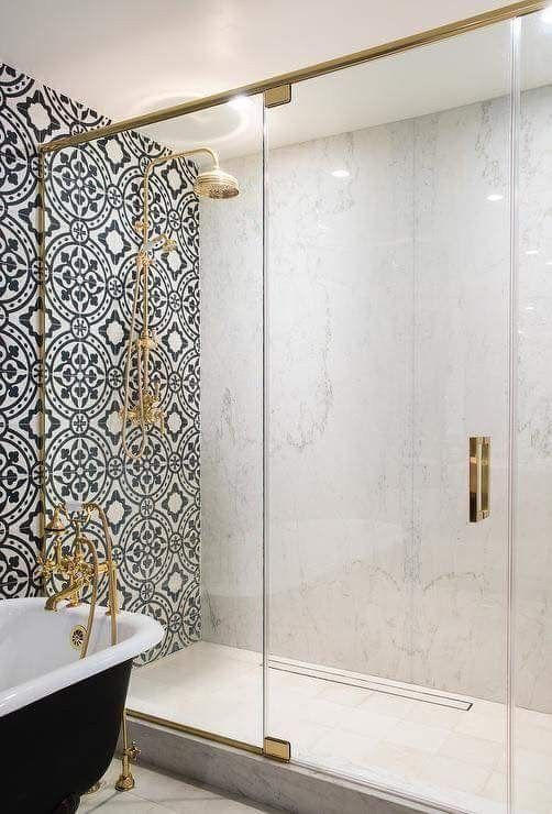 Moroccan Tile Shower | Freestanding Tub | Brass in the Bathroom | Brass Accents | Brass Bathroom | Brass Faucet | Character tile | Accent wall | bathroom design | tile shower | shower glass