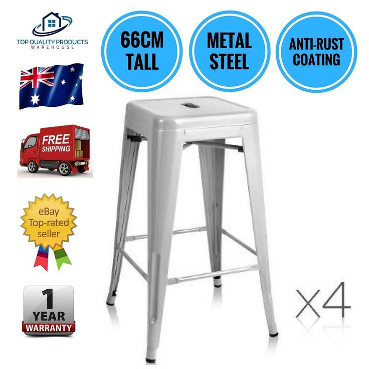 4x Replica Tolix Kitchen Cafe Bar Stool Metal Steel Chair 66cm High Grey New