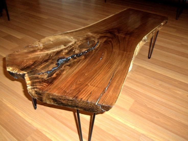 live edge black walnut coffee table with black by urban wood llc