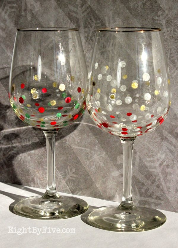 Easy diy confetti painted wine glasses things i would for Diy painted wine glasses