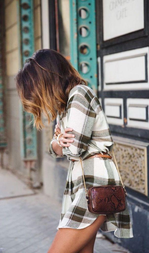 Plaid dress + snakeskin bag.