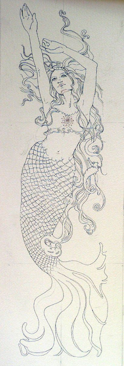 Art Nouveau mermaid ~ would be BEAUTIFUL in stain glass
