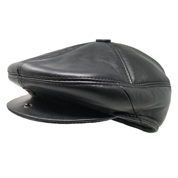 ff1a81a7770 Soft Lambskin Leather Flat Cap Gatsby Newsboy Driving Warm Winter Ivy Hat -  Black - CK183LI6HHO
