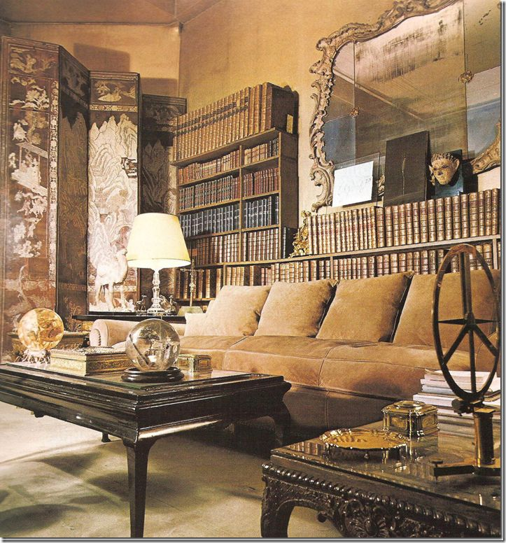 Coco Chanel's French apt. - NOTE:  the camel colored sofa (& the dark wood on the coffee table)