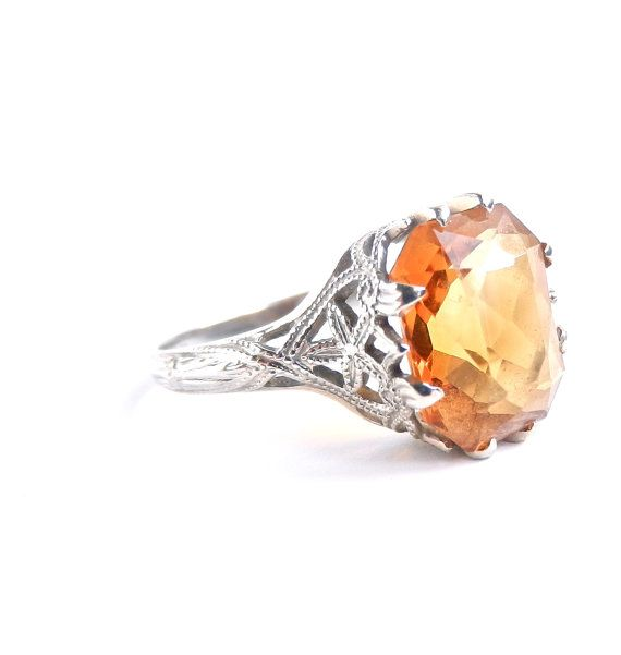 I am so in love with this ring! Vintage 1920s 18k White Gold Ring with Orange Gemstone. $300.Orange Gemstones, Jewelry Ii, Jewels Jewels, Jewelry Boxes, Fine Jewelry