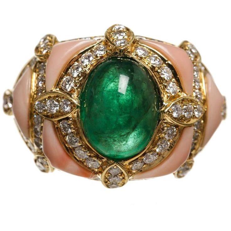 Yellow Gold Coral Cabochon Emerald Diamond Ring  1