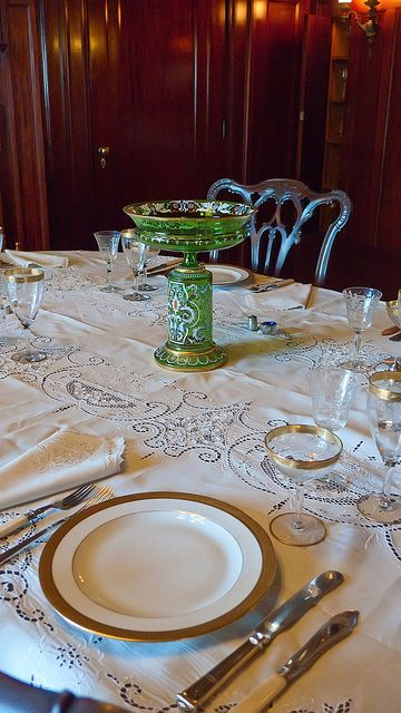 Elegantly honest formal place setting in Pittock Mansion