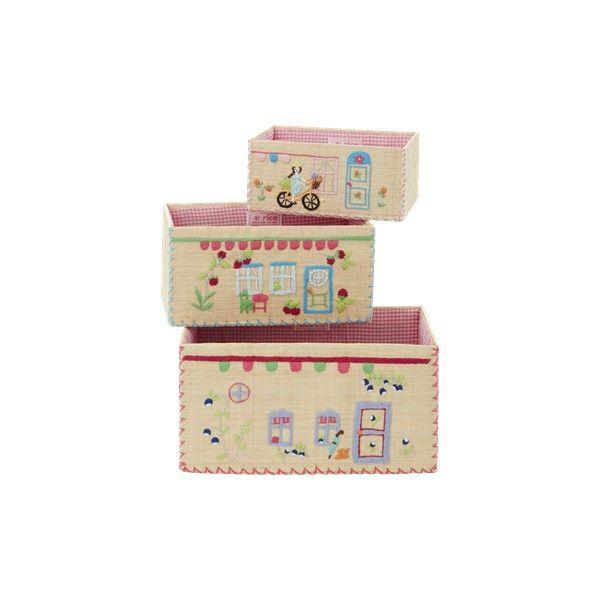 Set di tre cesti portaoggetti per bambina con raffigurate delle casette.