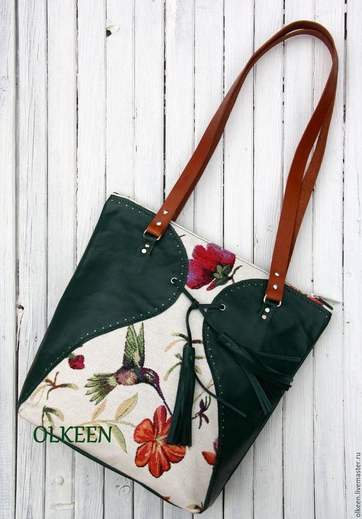 Купить Venezia. Гобеленовая сумка(колибри) - тёмно-зелёный, рисунок, Гобелен, гобеленовая сумка, гобеленовая ткань