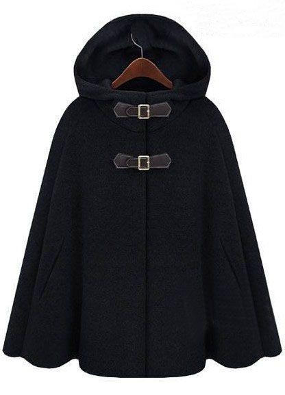 Black Hoodie Two PU Buckle Woolen Cape Coat