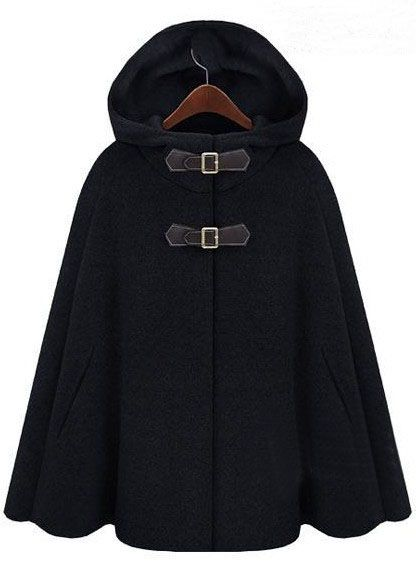 Black Hoodie Two PU Buckle Woolen Cape Coat - Sheinside.com I love capes and everything about them