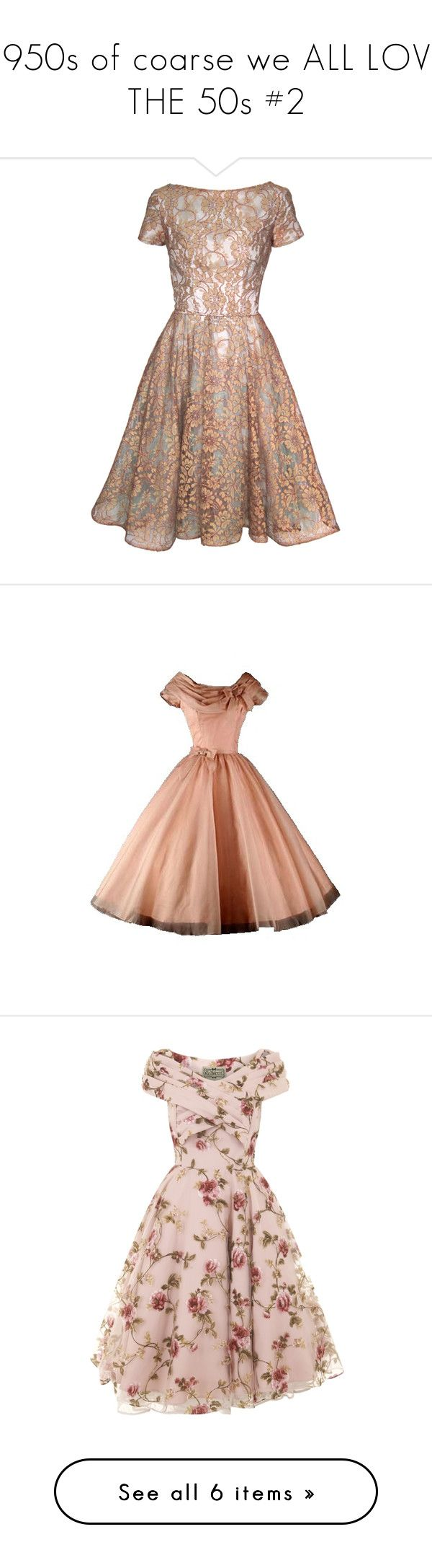 """""""1950s of coarse we ALL LOVE THE 50s #2"""" by dawn-lindenberg ❤ liked on Polyvore featuring dresses, vestidos, short dresses, gowns, blue dress, brown dress, lace cocktail dress, vintage lace dress, short blue dresses and short dress"""