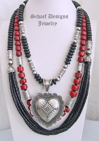 Schaef Designs layers of red coral, black onyx & sterling silver collectible necklaces    New Mexico
