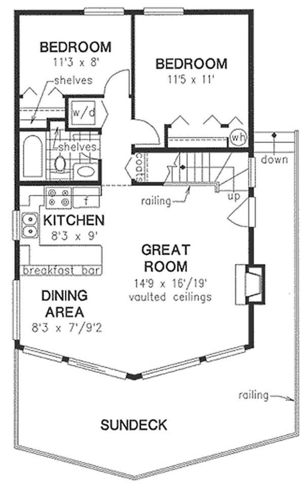 Nice floor plan! Sleeping loft with storage upstairs, but no 1/2 bath