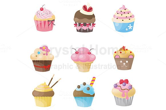 Cupcake icon collection set by Crytal Home Images on @creativework247