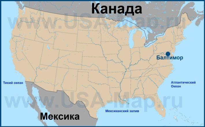 Балтимор на карте США