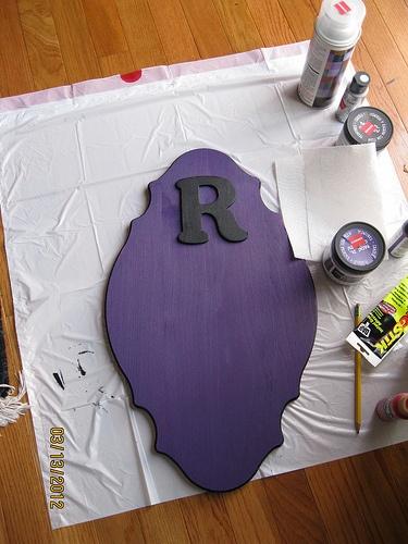 Chalkboard paint on wood board for message board.