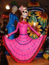 wide selection of dia de los Muertos Art Figures, Skeletons, Skulls, Altars, Catrinas and Catrins, Papel Picado (tissue paper banners), Sugar Skulls, Sugar Skull molds, Paper Mache breads, skull candies, Retablos & more!