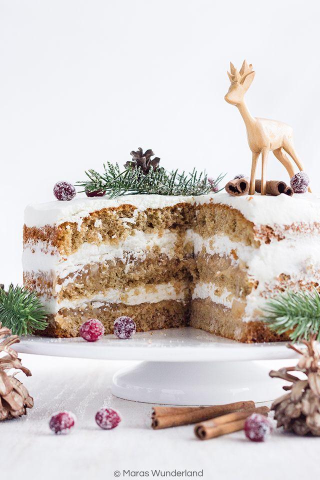 Low Fat Apple Christmas Cake // Leichte Apfel-Weihnachtstorte • Maras Wunderland
