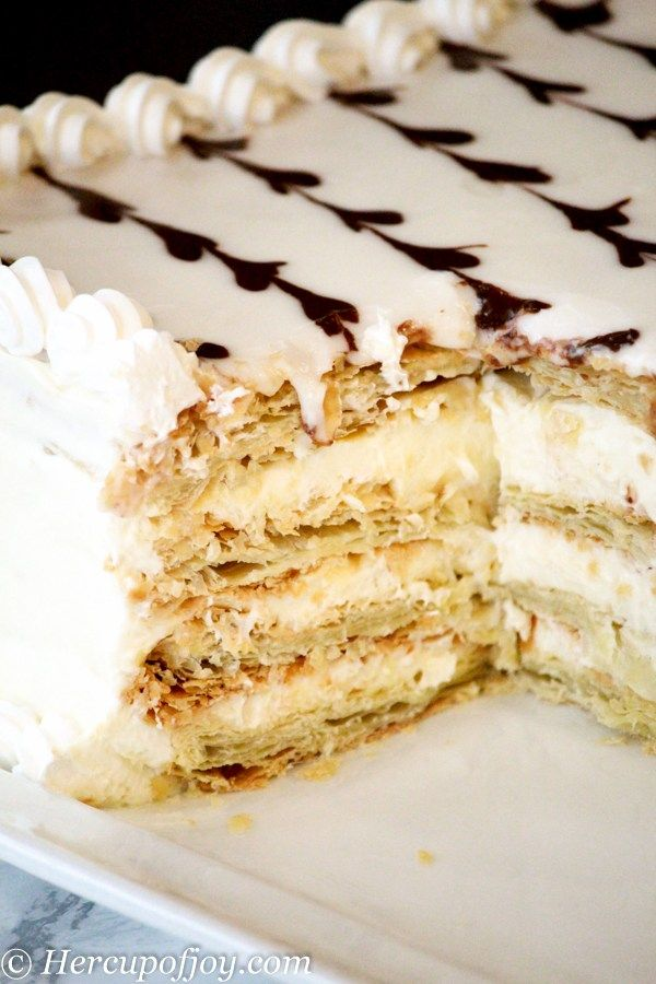 Faux Napoleon Cake (Mille-feuille) - Her Cup of Joy | Napoleon ...