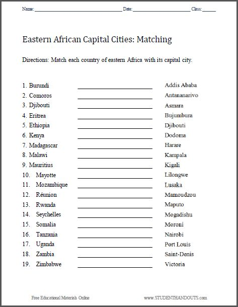 east africa capitals matching worksheet free to print pdf grades 3 and up social studies. Black Bedroom Furniture Sets. Home Design Ideas