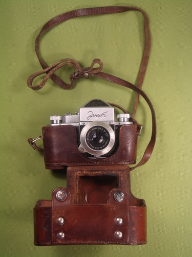 ZENIT WITH LENSE AND LEATHER CASE VERY OLD VINTAGE