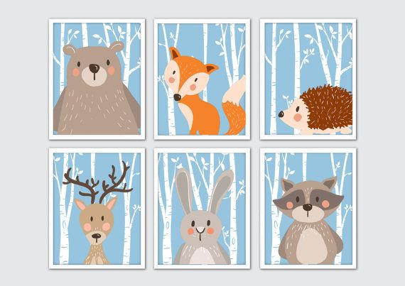 Woodland Animals Nursery Art, Woodland Nursery Prints, Racoon, Rabbit, Fox, Bear, Moose Nursery Wall Art, Woodland Room Decor