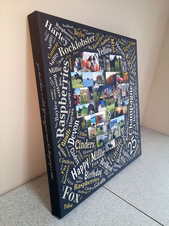 Word Heart Photo Collage Canvas by BespokeCollageCanvas /