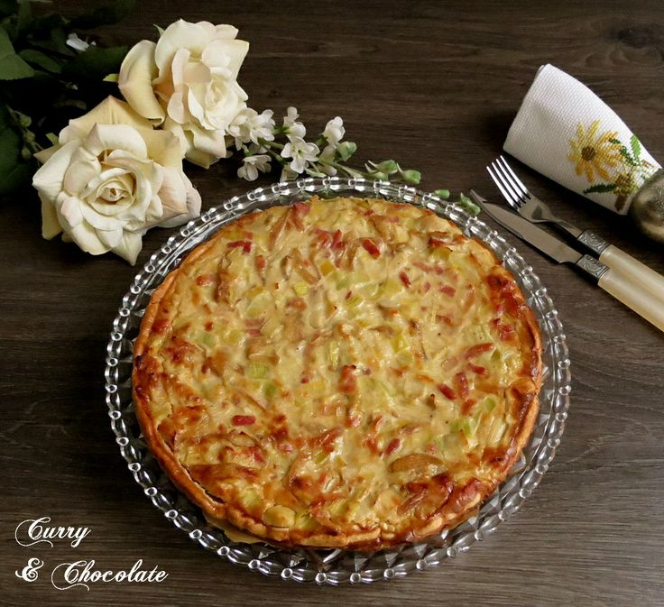 Quiche de bacon, puerros y cebolla caramelizada - Quiche with bacon, leek and caramelized onion