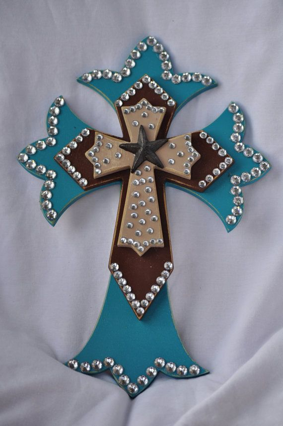 Western Style Layered Wooden Cross  Turquoise  by RaeOfFaith, $28.50