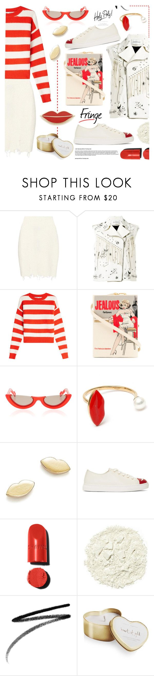 """""""Shimmy Shimmy: Fringe"""" by tinkabella222 ❤ liked on Polyvore featuring Yeezy by Kanye West, Valentino, Diane Von Furstenberg, Olympia Le-Tan, Delfina Delettrez, Bing Bang, Charlotte Olympia, Illamasqua, Clé de Peau Beauté and Katie Loxton"""