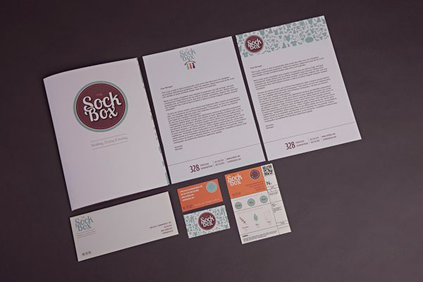 SockBox Laundromat on Behance by Arnica Botha Folder Envelope Voucher Letterhead Bussiness Cards