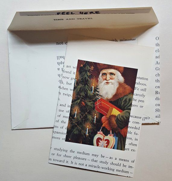 Handmade Blank Christmas Cards And Envelopes Made Of Book Pages