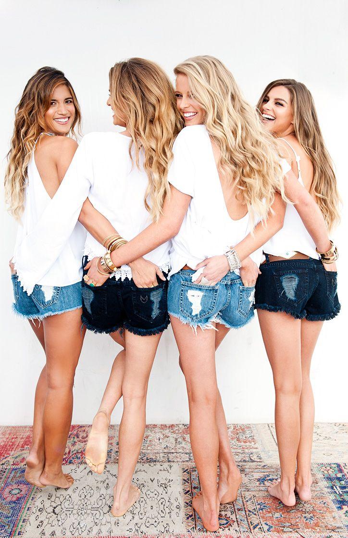 denim shorts - white tees - wavy hair!
