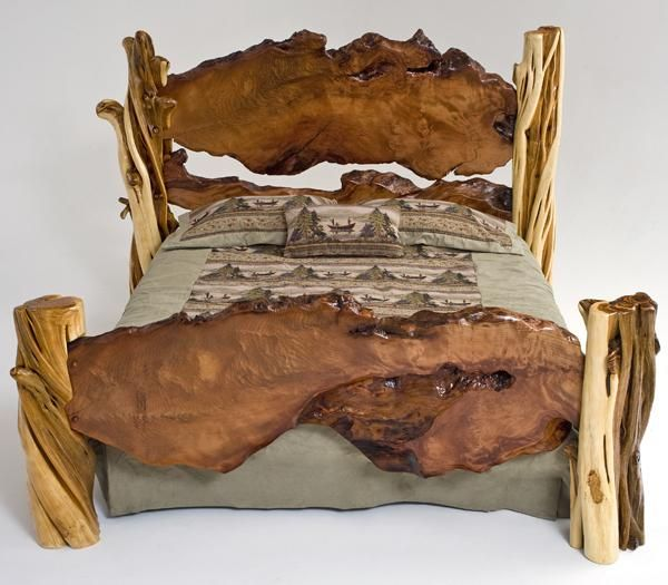 rustic platform bed for collection in wooden rustic platform
